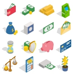 Money icons set isometric 3d style vector