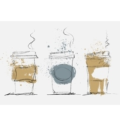 Disposable coffee cup art sketched vector
