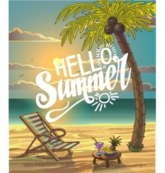 Summer beach lettering design in the vector