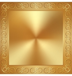 Abstract metal gold frame with ornament vector