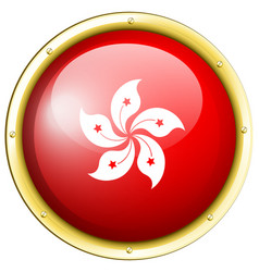 Badge design for hongkong flag vector