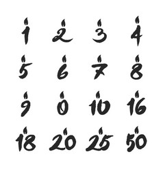 Birthday candles numbers set vector