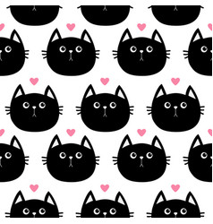 black cat head with little pink heart cute vector image vector image