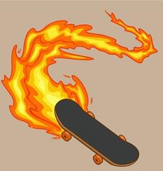 Blazing fiery skateboard vector