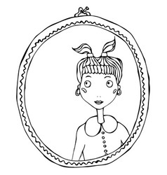 Cartoon cute adorable girl in the mirror frame vector