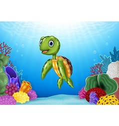 Cute Turtle with beautiful underwater world vector image vector image