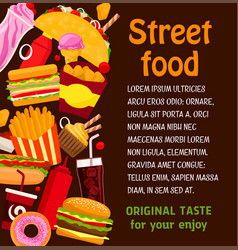 Fast food restaurant dish and drink menu poster vector