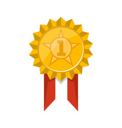 first place golden trophy badge with ribbon vector image vector image