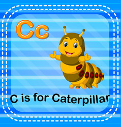 Flashcard letter c is for caterpillar vector