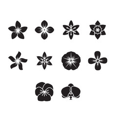 flat black flower icon set vector image vector image