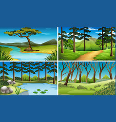 Four scenes of forest and river vector