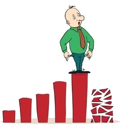 Frightened businessman on a chart going down vector