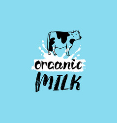 Hand drawn milk label sign for dairy vector