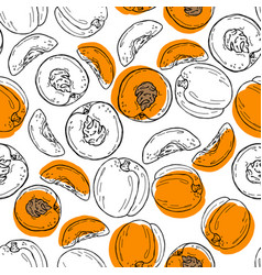 Hand drawn sketch style peach pattern vector