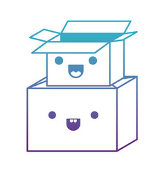 Kawaii cardboard boxes stacked in degraded blue to vector