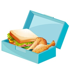 Lunch box with sandwiches and fried chicken vector