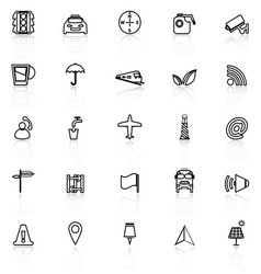 Map sign line icons with reflect on white vector image vector image
