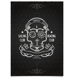 Marine Sports poster sailing and boating club vector image vector image