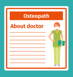 Medical notes about osteopath vector