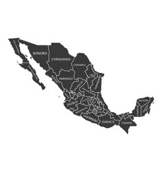 Mexico map labelled black vector