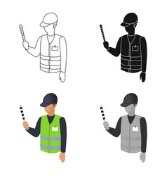 Parking attendant icon in cartoon style isolated vector