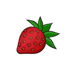 pop art style strawberry sticker vector image