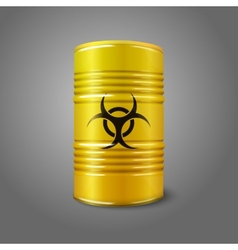 Realistic bright yellow big barrel with bio hazard vector