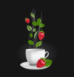 realistic strawberry tea vector image vector image
