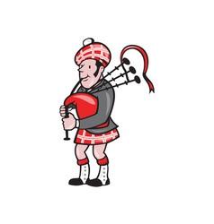 Scotsman bagpiper bagpipes cartoon vector