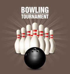 set of bowling skittles and bowling ball - poster vector image