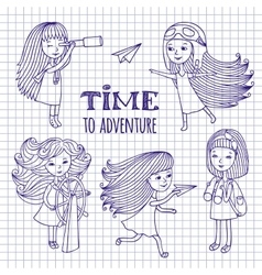 Set of cute girls women traveler vector image