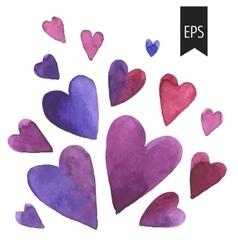 Set of purple watercolor hearts vector