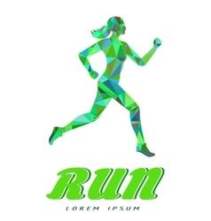 Sport woman green logotype vector image