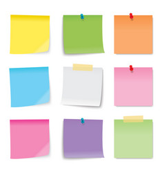 Sticky note colored sheets isolated on white vector