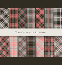 Tartan seamless patterns in gray-pink colors vector