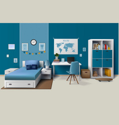 Teen boy room interior realistic image vector