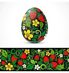 Traditional ornate easter eggs sticker design vector image