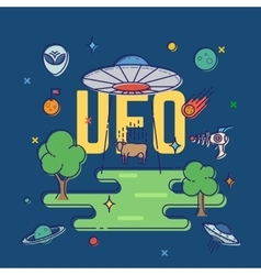 UFO Abducts Cow Abstract Flat Style vector image
