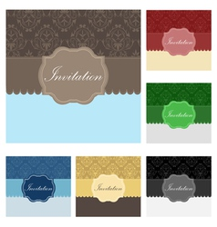 Vintage wedding invitation set vector image