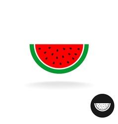 Watermelon half slice flat style color icon logo vector image vector image