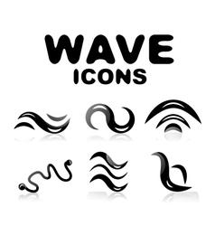 Wave glossy black icon set vector image