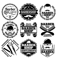 Set of barber labels for shops etc vector