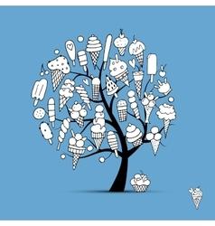 Icecream tree sketch for your design vector