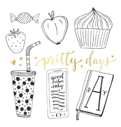 Hand drawn doodle set for teen girls vector