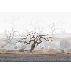 Mysterious forest in fog Dark spooky halloween vector image