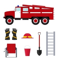 Firefighter profession equipment and tools vector