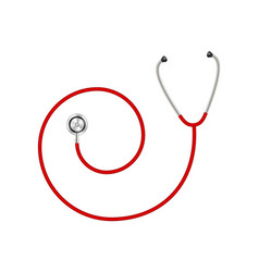 Stethoscope in shape of spiral in red design vector