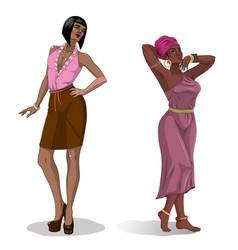 African american black beauty women vector