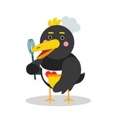 Cute cartoon chief raven character in geometric vector