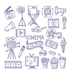 Cinematography doodle set video movie vector